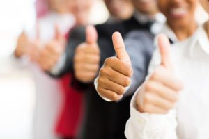 26858681 – closeup portrait of business people giving thumbs up